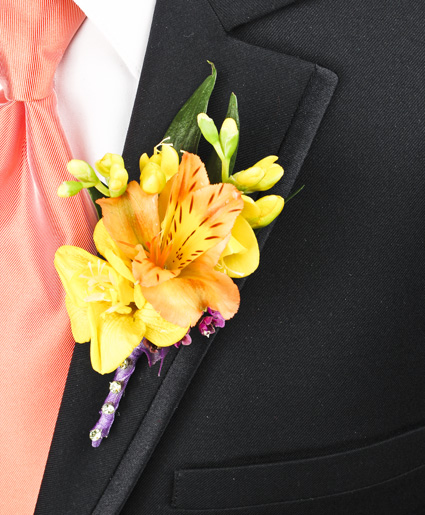 This bright yellow boutonniere is great with the yellow flower and accent of purple ribbon.]